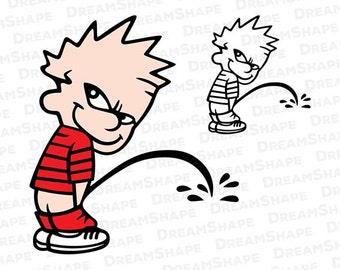 Calvin Peeing SVG Files, Calvin Peeing Cricut Cut File, Calvin Peeing DXF File, Calvin Pee Meme, Calvin Peeing SVG Files, Instant Download