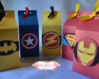 Super heroes favor box, set of 5
