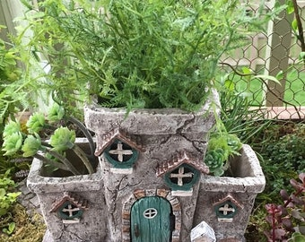 """SALE Fairy House Planter, """"Potter's Place"""" With Hinged Door, Fairy Garden Accessory, Miniature Gardening, Home & Garden Decor"""