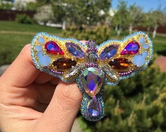 Butterfly brooch pin, Moth brooch Pin, Butterfly Jewelry Brooch, Insect brooch pin, Butterfly Jewelry pin, Embroidered Brooch, Brooch Beaded