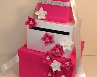 Wedding Card Box Fuchsia (shocking pink) and White Gift Card Box Money Box Holder--Customize your color