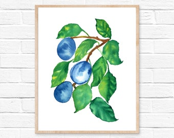 Plums, Prunes, Watercolor Print, Kitchen Wall Decor, Fruit Watercolor Painting, Plums Wall Art, Plums Art, Plums Decor, Kitchen Wall Art