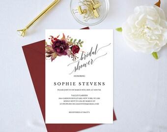 Bridal Shower Invitation Template,Floral Bridal Shower Invitation,Bridal Shower Invitation Printable,Burgundy,Bridal Shower Invitation PDF