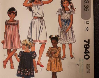 McCall's 7940, Girl's Vintage Summer Dress Sewing Pattern