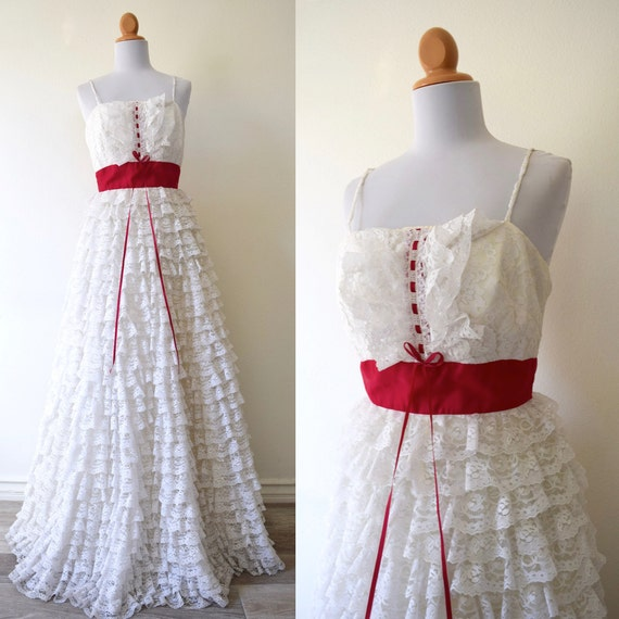 Vintage 50s 60s Layer Cake White Tiered Lace Gown (size xs, small)