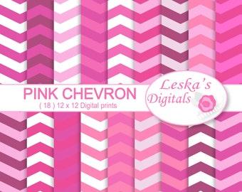 """Pink chevron digital """"chevron"""" digital paper pack - Scrapbook paper pack - Digital paper set"""