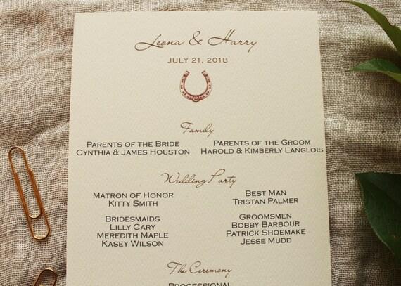 Horseshoe Wedding Invitation Program Horse Wedding