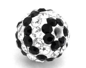 3 beads shamballa striped black and shiny