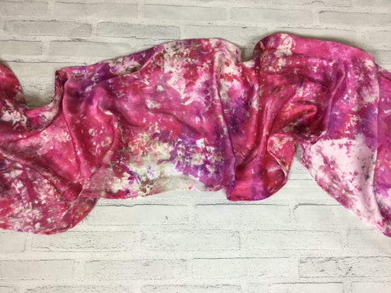 100% Silk Scarf Purple Red Raspberry Sangria Ice Dyed Abstract Floral Watercolor Silk Scarves Oblong Office Accessories #190