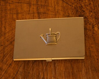 Watering Can Business Credit Card Holder Gardeners Gift FREE ENGRAVING