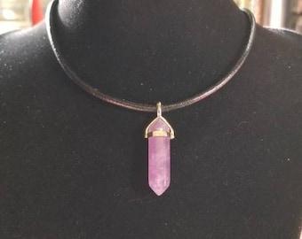 """18"""" Purple Flourite pendant 3mm leather necklace"""