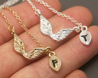 Wing Necklace, angel wing Necklace, Angel Necklace, Personalized Initial Necklace, Wing Jewelry, wing Pendant, Angel wing Charm NB630