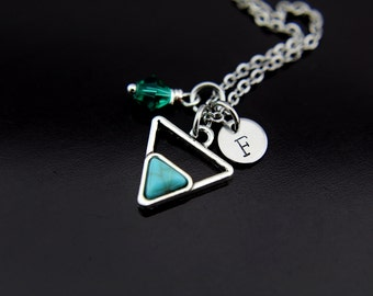 Silver Turquoise Charm Necklace, Turquoise Pendant, Triangle Geometric Jewelry, Personalized Necklace, Initial Charm, Birthstone Jewelry