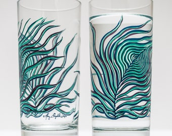 Peacock Glasses, Peacock Feather Glasses - 2 Everyday Water Glasses - Peacock Feathers, Peacock Glasses, Peacock Glassware, Wedding Glass