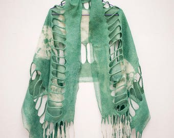 Green Felted Scarf| Silk & Felt Scarf| Hand Dyed| Green Palantine | bohemian style| Unique Style