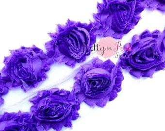 PURPLE GRAPE  Shabby Rose Trim - Shabby Chiffon Rosettes - 1/2 Yard or 1 Yard - Shabby Flower Trim - Wholesale Shabby Flower - Chiffon