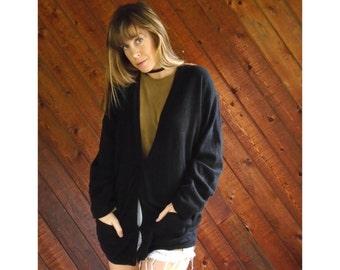 Black Lambswool V Neck Cardigan Sweater - Vintage 90s - S/M