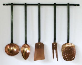 Copper and Steel French Utensils, French Utensils, Kitchen Utensils, French Copper Utensils, Copper Hanging Kitchen Utensils  (238)