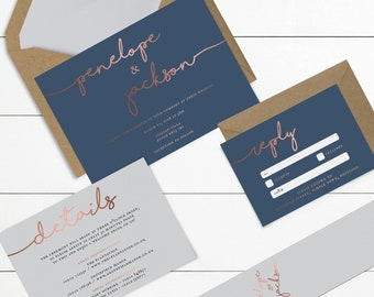 Rose Gold Foil Faux Effect & Navy // Wedding Invitation Bundles // Sample Only // Printed Copies or Print Yourself // Design Code #2380