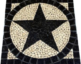 SQ Uba Tuba Granite TEXAS STAR Mosaic Tile Medallion Backsplash Floor Wall Deco Inlay Design Marble Art