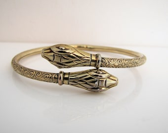 Andreas Daub Art Deco Rolled Gold Amerikaner Forearm Bracelet. Vintage Germany Snake Bangle. Engraved Double Headed Upper Arm Cuff Bracelet