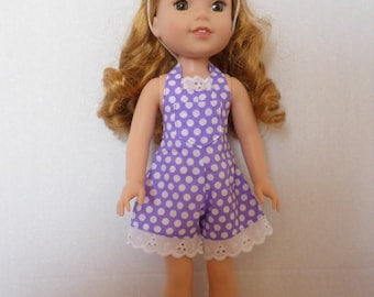 Purple  shorts or  shortalls, American made to fit 14 1/2 inch Wellie Wisher dolls.