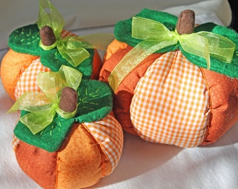 Pumpkins, Fall, Halloween, Orange, Pumpkins, Thanksgiving, cloth pumpkins, table centerpiece, handmade, Set of Three