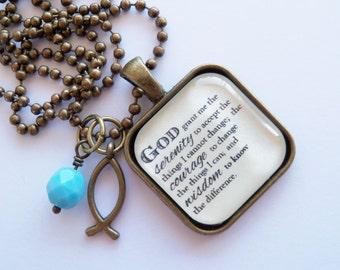 Serenity Prayer Necklace (Cream)  - God Grant Me The Serenity - Inspirational - Christian Jewelry -  Prayer Pendant - The Serenity Prayer