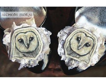 Hand Painted Owl Shoe Clips Pair - Handmade, Unique, Art, Gift, Party, Formal, Bridal, Wedding, Prom, Rockabilly