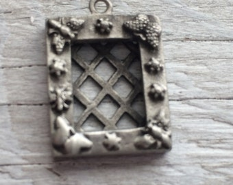 Pewter Picture Frame Charm, garden theme charm, bugs and flowers