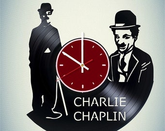 Sir Charles Chaplin vinyl wall clock Charles Chaplin wall clock Сomic actor gift Сomic actor wall decor Superhero team wall art Chaplin gift