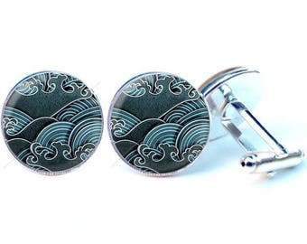 Glass cabochon cuff links - Japanese wave