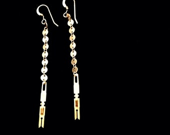 Silver and gold filled mixed metal dangle chain earrings