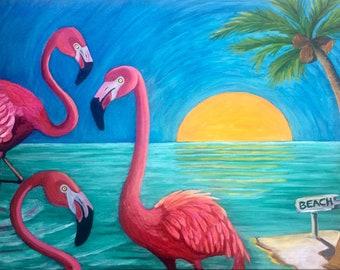Flamingo's at the Beach