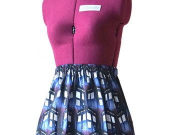 Dr Who Tardis Skirt (xs, s, m, l, xl, xxl) womens high waist skirt, ladies mini skirt, doctor who fandom, geeky clothing, mommy and me skirt