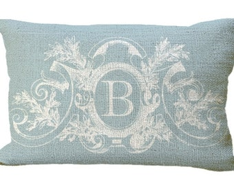 Powder Blue Fancy Frame Custom Monogram Burlap Lumbar Oblong in choice of 18x12 20x12 20x13 25x13 24x16 Pillow Cover