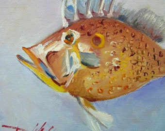 Old Spike Fish Art oil painting Art by Delilah