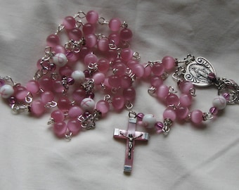 Miraculous medal breast cancer awareness rosary
