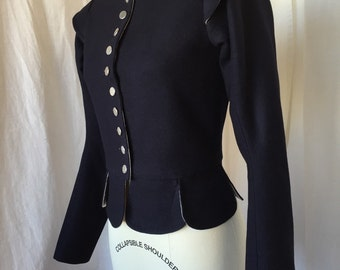 17th Century Jacket - Made to Order Colonial Pilgrim Jacobean Historical Doublet Costume 1600's Women's jacket in Navy wool