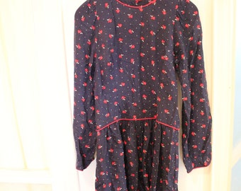 naby blue and red Vintage long sleeves Polka Dot drop waist button down floral dress with pockets