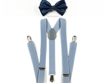 navy blue bowtie, navy bowtie, LIGHT grey suspenders, gray suspenders, mens gray suspenders, navy blue bow tie, mens suspenders