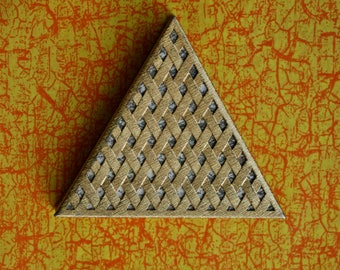 Vintage Faberge Triangle Gold Tone Powder Compact 1970s