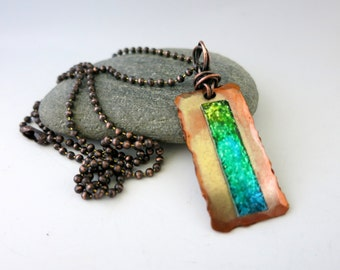 Solitude Necklace, Handmade Mixed Metal, Alcohol Ink Handpainted, Copper & Aluminum, Ready to Ship