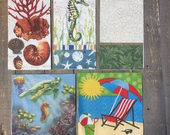 Ocean Themed Set of Napkins for Collage or Mixed Media Projects