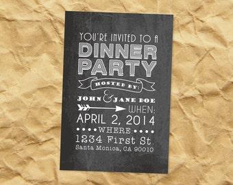 Printable Dinner Party Invitation - Signboard - Custom Chalkboard Invitations