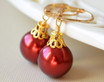 Red Glass Pearl Earrings, Christmas Balls, Gold Plated Lever Earwires, Fun Holiday Jewelry