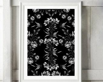 Gothic Art, Botanical Illustration, Occult Art, Ink Drawing, Black White Print, Black White Art, Victorian Illustration, Witch Art, Goth Art