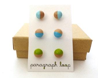 Wood earrings, blue and green earring set, tiny studs, colorful earring, gift for her, dipped wood, simple wood jewelry, minimalist earrings