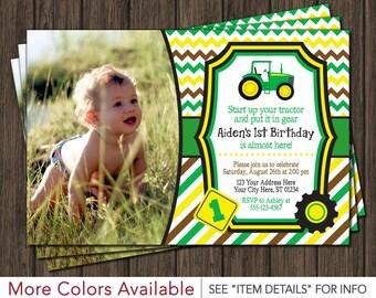 Tractor Birthday Invitation - Farm Birthday, First Birthday