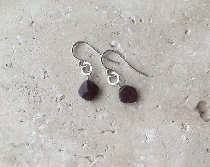 Cushion Cut January Birthstone Garnet Littles Earrings with Hammered Twist Circle Dainty Small Minimalist Gemstone